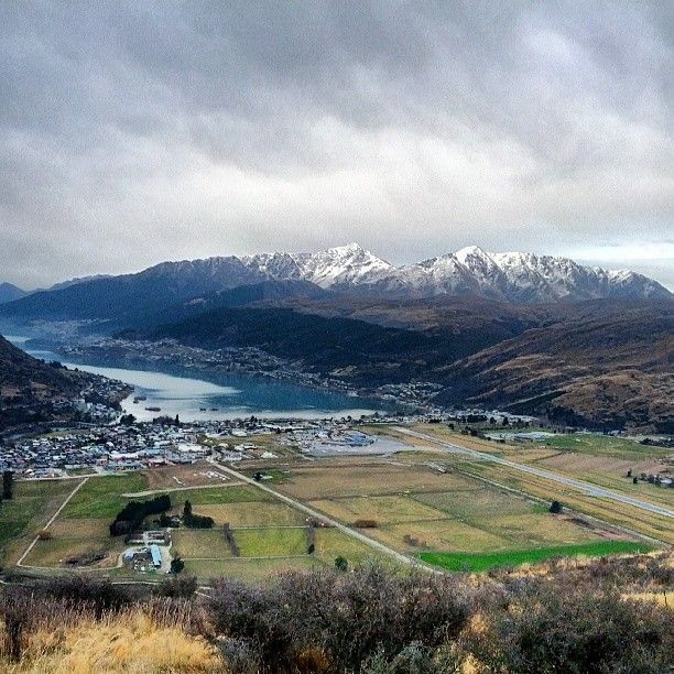 View from The Remarkables looking over Frankton back towards #Queenstown. Airport runway in mid right #NewZealand #Aotearoa #NZ