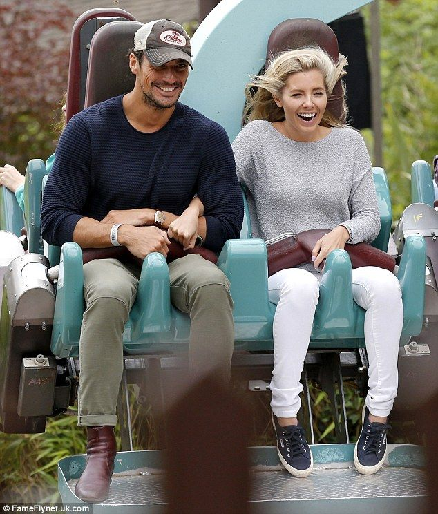 Thrill-seekers: Mollie King, 28, and David Gandy, 35, swapped style for screams as they enjoyed a fun-filled day out at Thorpe Park in Surrey this week