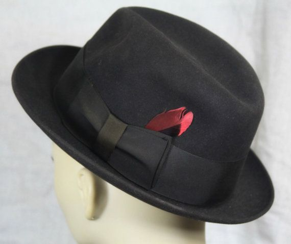 Vintage mens fedora hat -- black w red feather - Dobbs