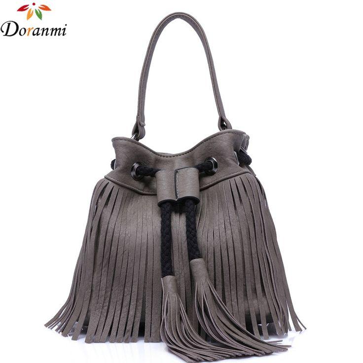 DORANMI Fashion Bucket Handbags For Women 2017 Luxury Female Tassel Shoulder Bags String Closure Casual Messenger Bag Purse