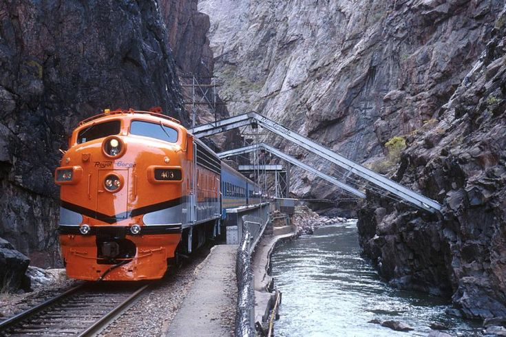 Royal Gorge Railway following the Arkansas River in Colorado, USA