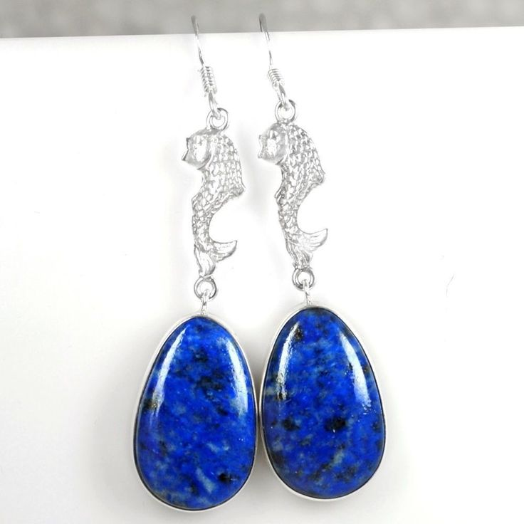 Gorgeous 925 Sterling Natural Top Fine Lazurite Earrings Pair Starsilver Jewelry #Notspecified