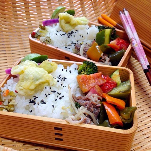 炒めもの、三種類は、まちがいで(°_°) イタリアン蒸し、でした(///∇//) - 88件のもぐもぐ - おはようございます。夏野菜トマト、胡瓜、そしてブロッコリーのイタリアンソテー。牛肉ともやしの焼き肉屋さん風。三色ピーマン炒め。ソラマメ天ぷらと香の物。 by Kumi_love