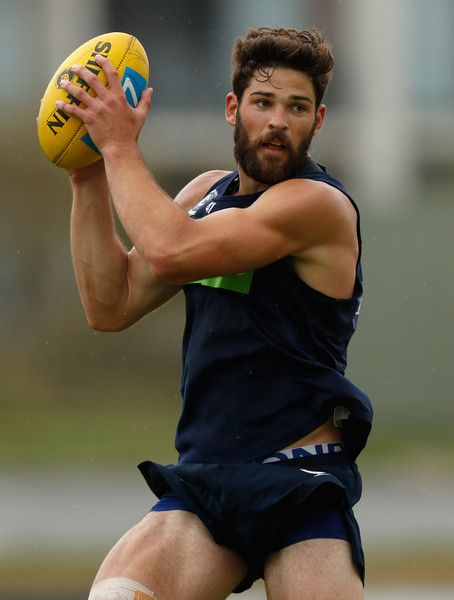 Levi Casboult of the Blues marks the ball during a Carlton Blues AFL training session at Southport Sharks Oval on December 18, 2016 in Gold Coast, Australia.