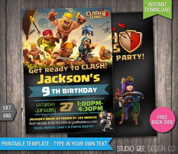 Clash of Clans Birthday Invitation - INSTANT DOWNLOAD - Printable Supercell Clash of Clans Birthday Invite - DIY Personalize & Print - cc994