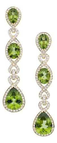 Peridot, Diamond, Gold Earrings, Eli Frei