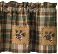 Scotch Pine Pinecone Curtain Valance by Scotch. $31.95. 100% Cotton Fabric. The Scotch Pine Patchwork Valance is a great plaid rustic valance in rich forest colors of evergreen, brown and tans. Pine bough embroidered patches are blanket stitched to the lined valance to highlight the rustic, natural appeal of these cabin curtains.