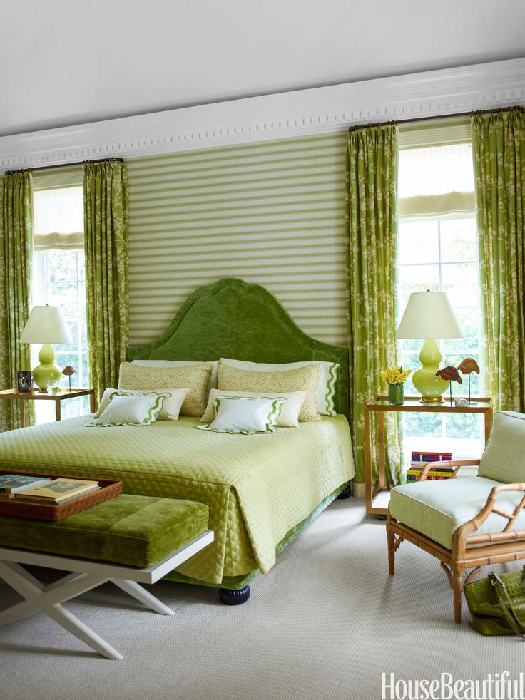 The guest room walls are covered in a Larsen wallpaper.   - HouseBeautiful.com