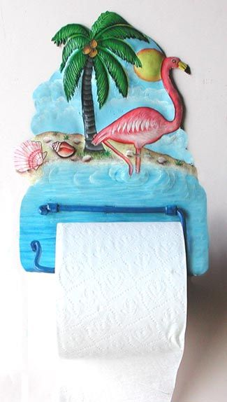 Painted Metal Toilet Paper Holder - Pink Flamingo Bathroom Decor - View at www.TropicAccents.com