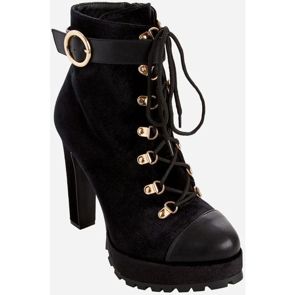 Ashley Stewart Chunky Heel Lace-Up Velvet Booties - Wide Width ($75) ❤ liked on Polyvore featuring shoes, boots, ankle booties, military boots, tall lace up boots, high heel booties, lace-up booties and laced up boots