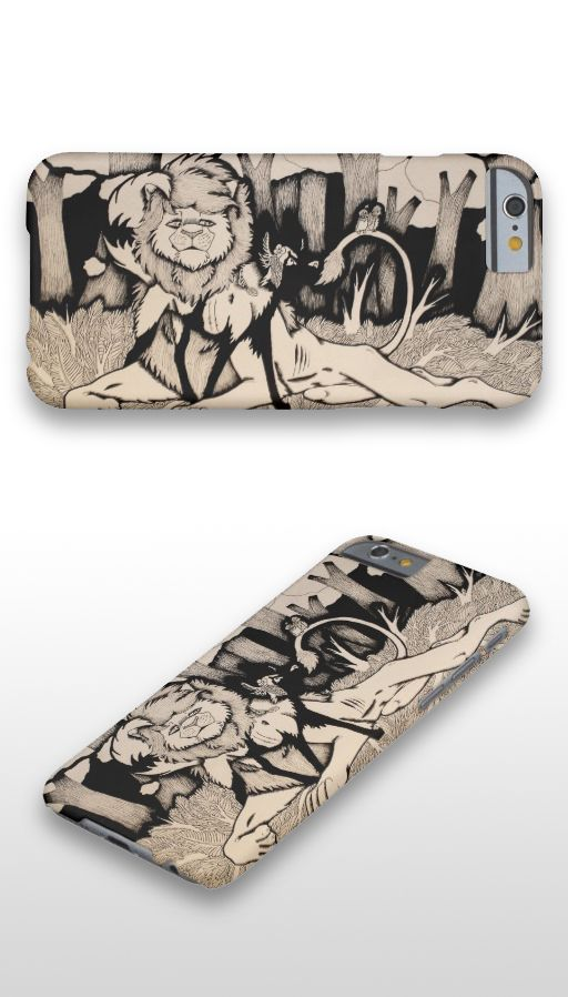 """Waiting for Daylight"" Black and white illustrated lion and african wild dog couple iPhone 6 Case"