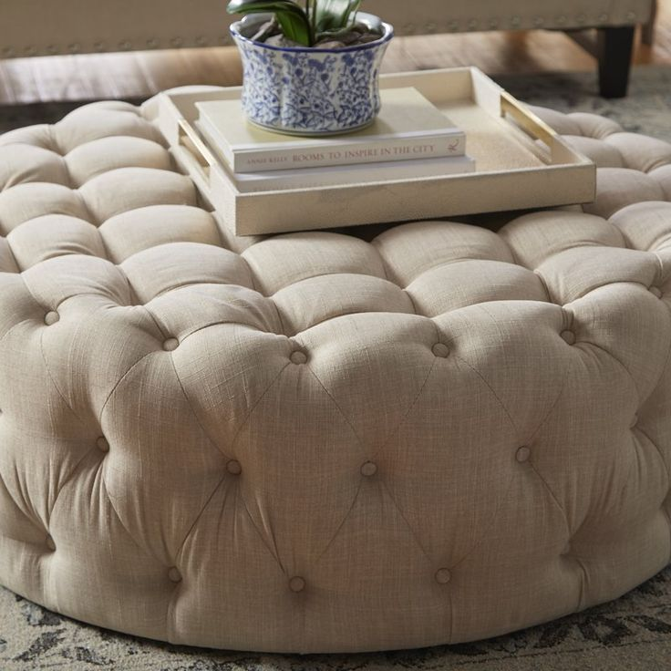 With Its Glamorous Button Tufted Design And Round Silhouette This Timeless Ottoman Ties Together Your Living Room Or Den In Elegance