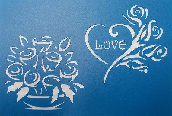 Rose Love Stencil от BettsHandmadecrafts на Etsy