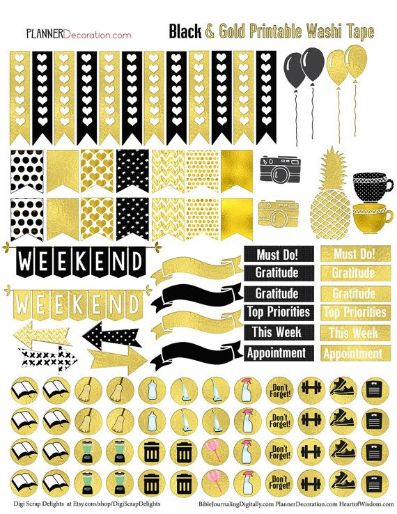 SALE 50% Off Gold Foil Printable Planner by DigiScrapDelights
