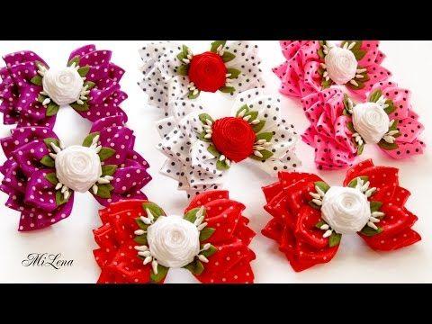 Объемные Бантики с Розами, МК / DIY Ribbon Bows with Rolled Roses - YouTube