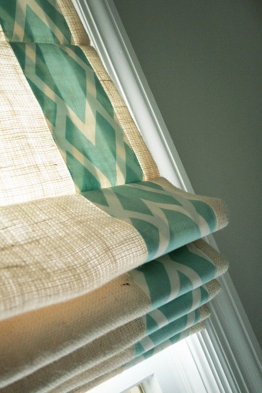 burlap roman shades with trim @ DIY Home Design