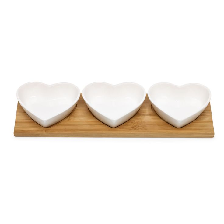 Wilko Heart Dip Bowls and Tray Set