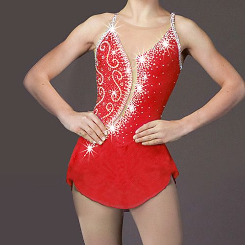 Vestito da pattinaggio artistico Per donna Da ragazza Pattinaggio sul ghiaccio Vestiti Rosso Con diamantini Elevata elasticità Prestazioni del 2018 a €60.58