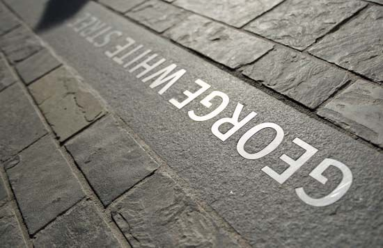 Integrated in-pavement Signage at Cabot Circus by Woodhouse