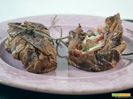 Involtini di radicchio ripieni di formaggio, speck e funghi  #ricette #food #recipes