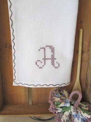 Miss Abigail's Hope Chest: Threaded Running Stitch Monogrammed Dishtowel