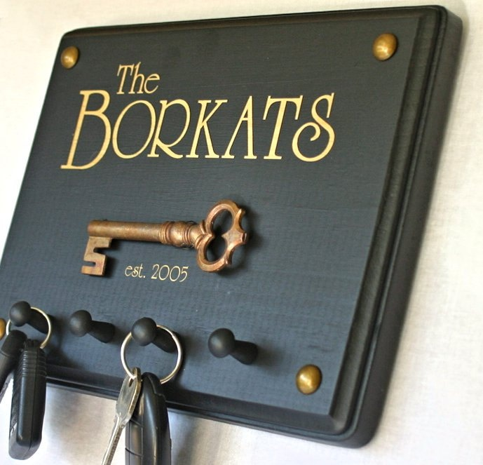 Wall Key Hanger Personalized Couples Gift Established