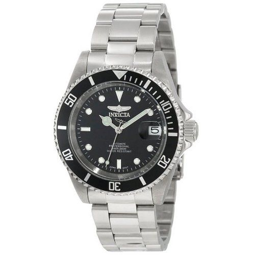 Invicta Pro Diver Men's Automatic Watch with Black Dial  Display and Silver Stainless Steel Bracelet 8926   automatic movement - Crystal: Mineral - Water resistant to 200 meters - Case Dimensions: 43mm wide x 14mm thick - Bracelet Dimensions: 20mm wide x 9.5 inches long - Special Features: Luminous hands and hour markers/Sweep second hand/Black unidirectional coin edge bezel/See thru skeleton case back   List Price: £219.00     Sale Price: £70.00