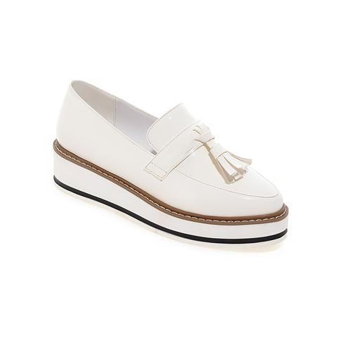 Women Platform Tassel Wedges Shoes Loafers
