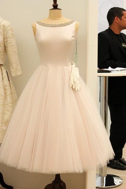 Candy Anthony scoop neck tea length dress.