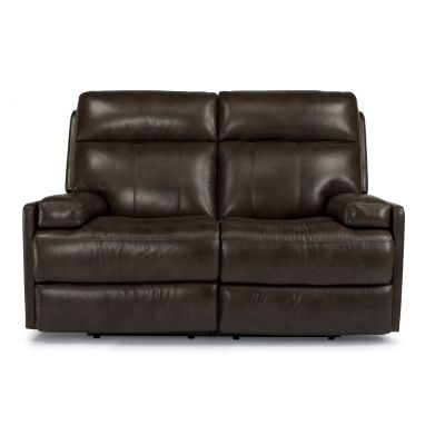 Flexsteel 1437-60P Nathan Leather Power Reclining Loveseat available at Hickory Park Furniture Galleries