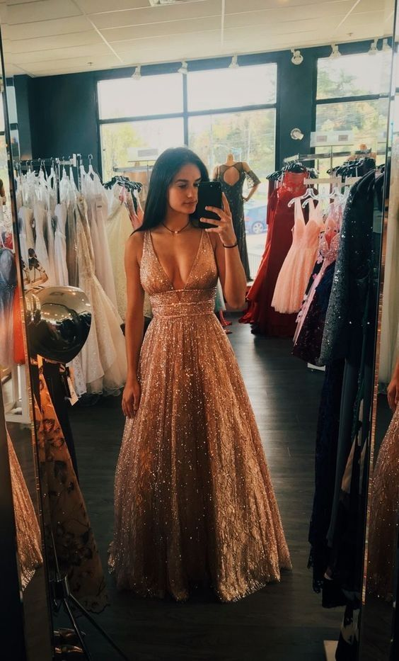 A-line tiefem V-Ausschnitt lange rückenfreie Champagner Abendkleid mit Pailletten – Festkleid