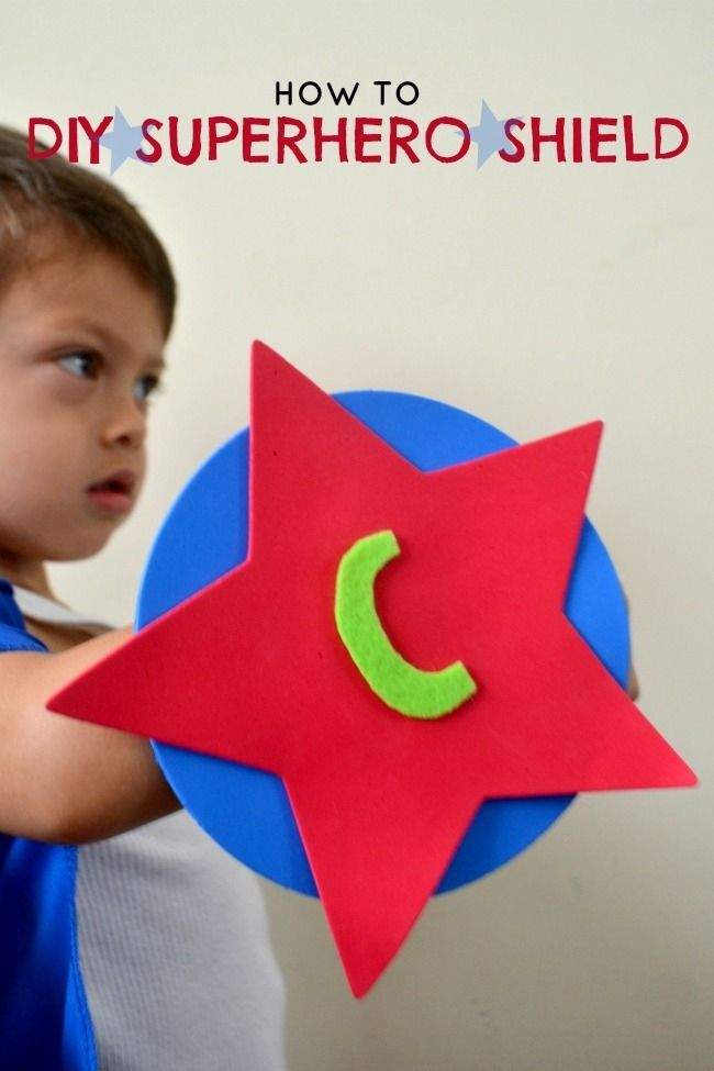 DIY Boy's Superhero Shield www.spaceshipsandlaserbeams.com