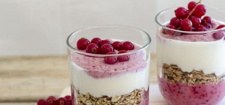 Overnight de framboesa e groselha é um exemplo de um pequeno-almoço completo, cheio de vitaminas e bastante fácil de fazer, indicado para as crianças no regresso às aulas.
