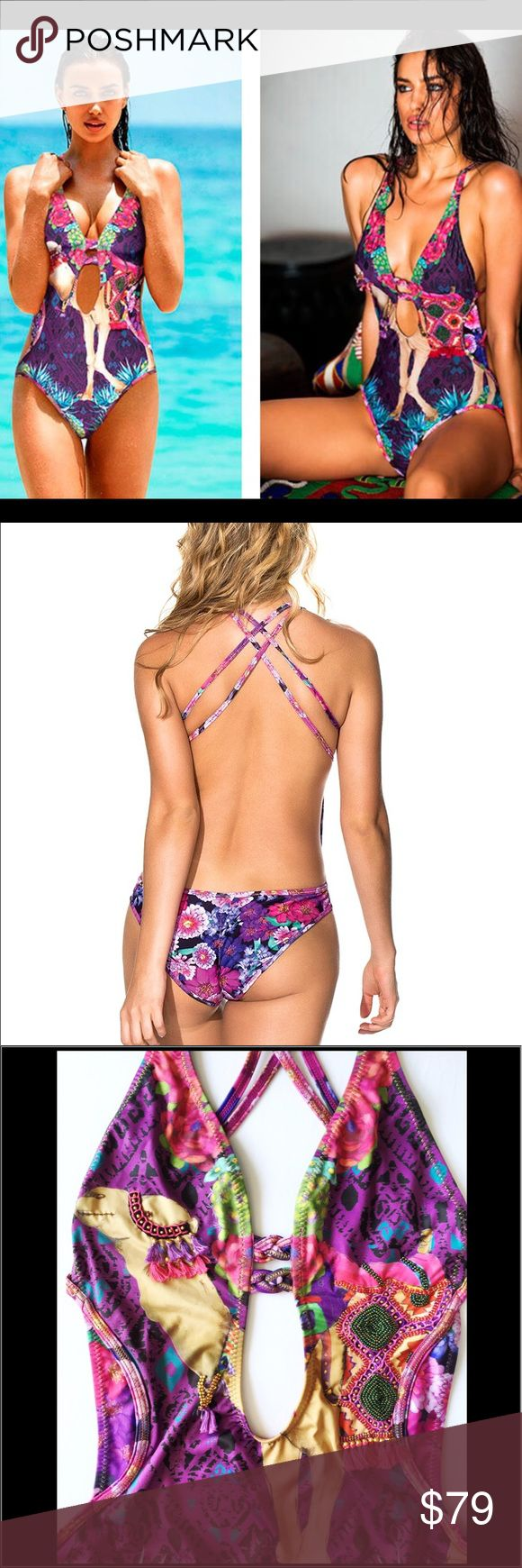 NWT agua bendita one-piece monokini small size New with tags. Embroidered monokini. By agua bendita. Made in colombia. Small size Agua Bendita Swim One Pieces