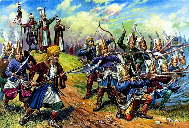 The Janissary regiment deployed to the field.