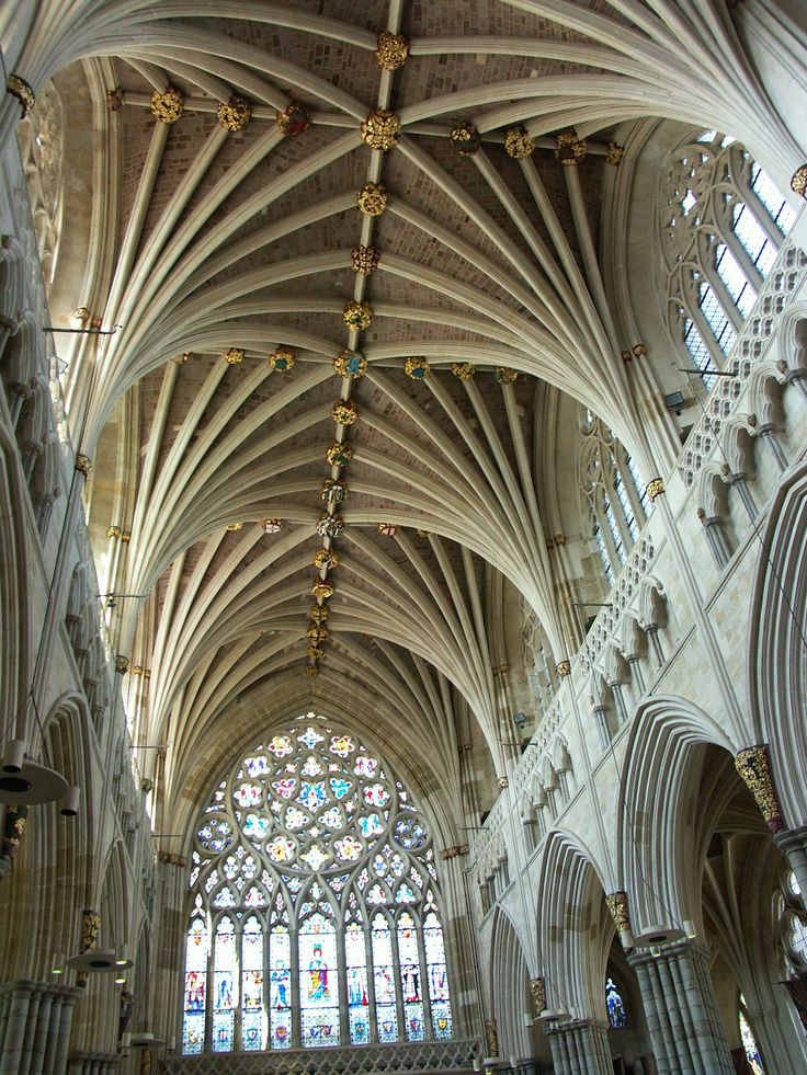 Exeter Cathedral, the longest uninterrupted vaulted ceiling in England, completed, ca. 1400, uncredited photo.
