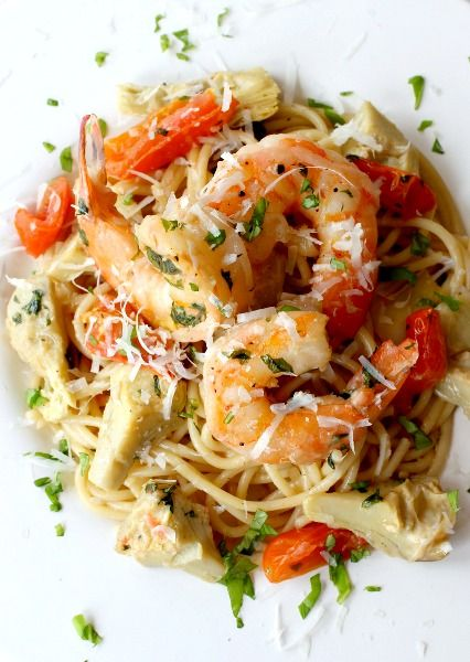 One-pan Skillet Shrimp and Artichoke pasta is on the table in 30 ...