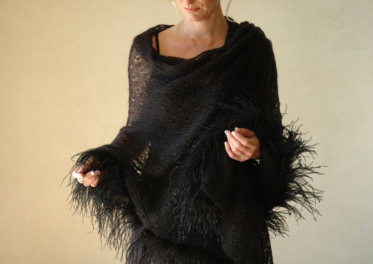 Black mohair lace shawl
