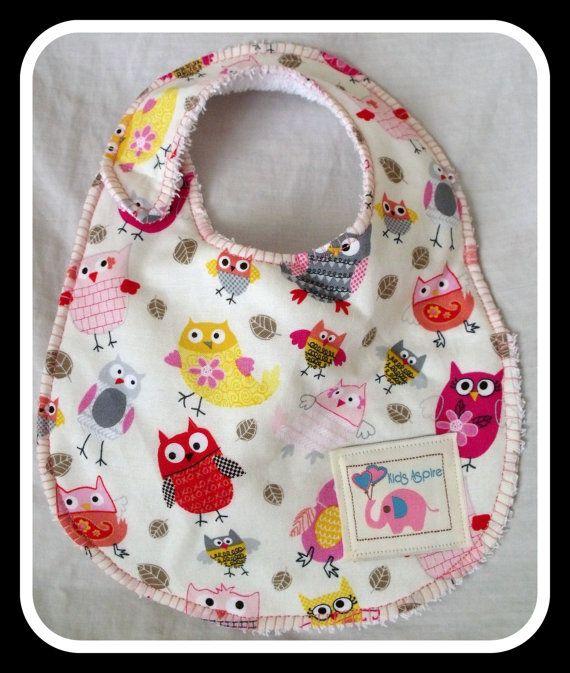 Baby Bib  girls pretty pink red yellow owls birds by KidsAspire, $8.50