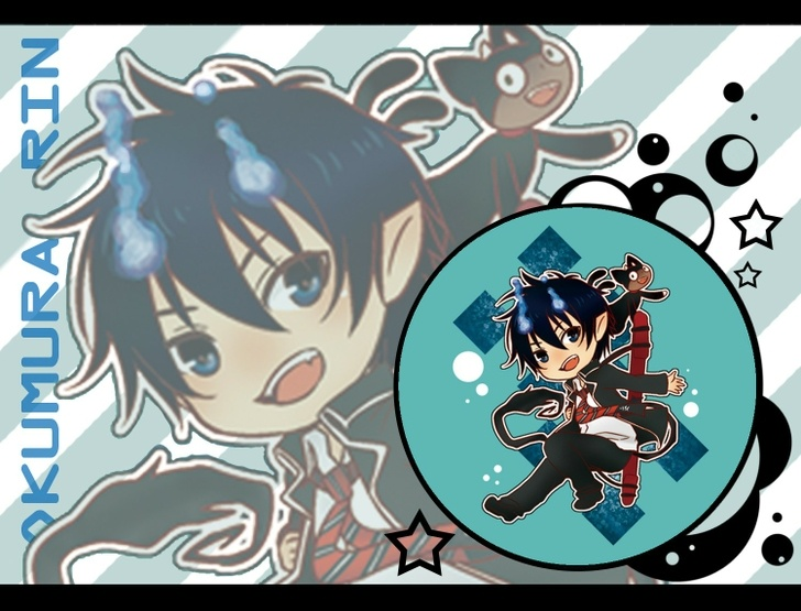cats chibi anime anime boys ao no exorcist okumura rin kuro ao no exorcist 1500x1144 wallpaper High Quality Wallpaper