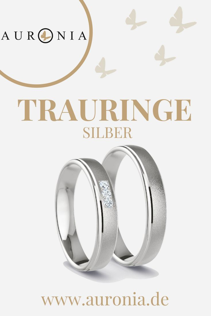 Trauringe Silber mit Stein (Diamant), schlicht, schmal, poliert