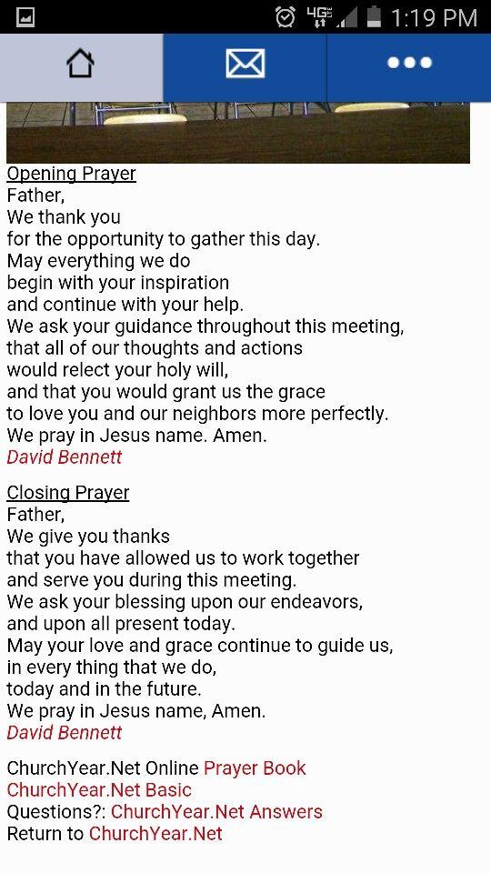 Opening and closing prayer | PTO Prayers | Pinterest ...