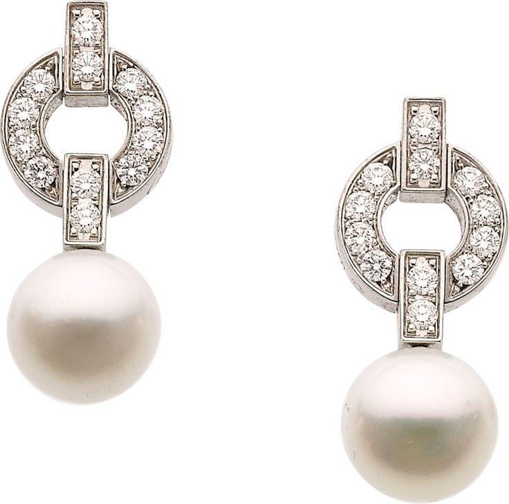 Cartier Cultured Pearl, Diamond, White Gold Earrings 18k white gold with cultured pearls and diamonds.