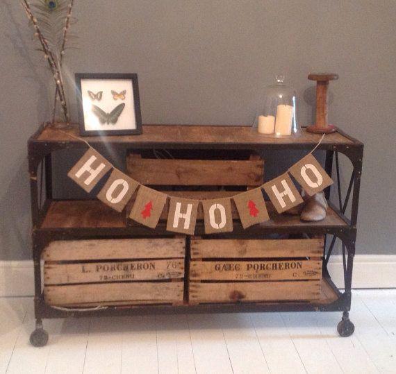 HO HO HO Hessian / Burlap Christmas bunting