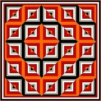 Optical illusion - how cool is this! Would be cool to make a quilt in this design