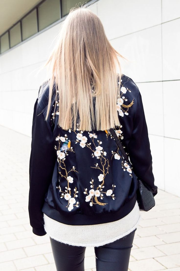 6e7e534b9e On Sale    60 Black Floral Bomber Jacket from Pasaboho   featuring  embroidery of Sakura flowers