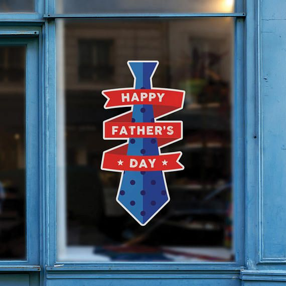 Happy fathers day tie retail display removable window vinyl decal seasonal shop window sticker