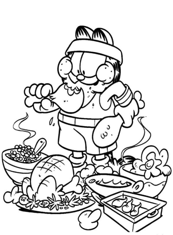 Garfield Eating Junk Food Not Healthy Coloring Pages Coloring Sun