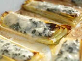Roasted leek with gorgonzola