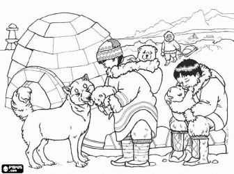 Eskimo family and their animals in front of their for Inuit coloring pages